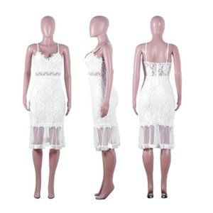Dresses - Sexy Floral Lace Mesh Sheer V Neck Bodycon Dress